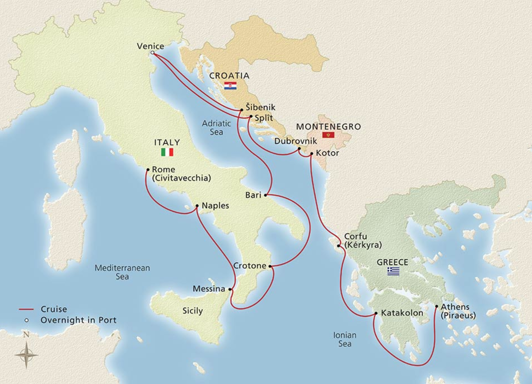 ITALY, THE ADRIATIC & GREECE